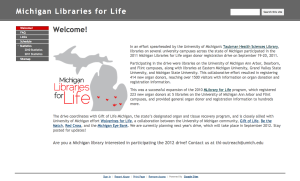 Michigan Libraries for Life website screenshot