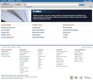 The Pubmed homepage as of December 2012.
