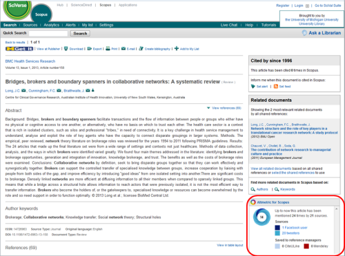 Scopus: altmetric sidebar