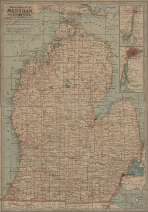 Michigan map from The Century Company's 1897 atlas, digitized by the Stephen S. Clark Library, University of Michigan. Public domain.