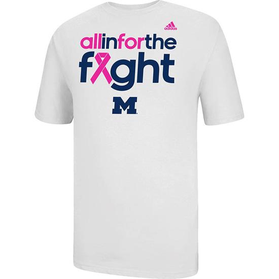 Adidas University of Michigan Breast Cancer Awareness White Tee