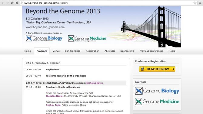 Beyond the Genome 2013