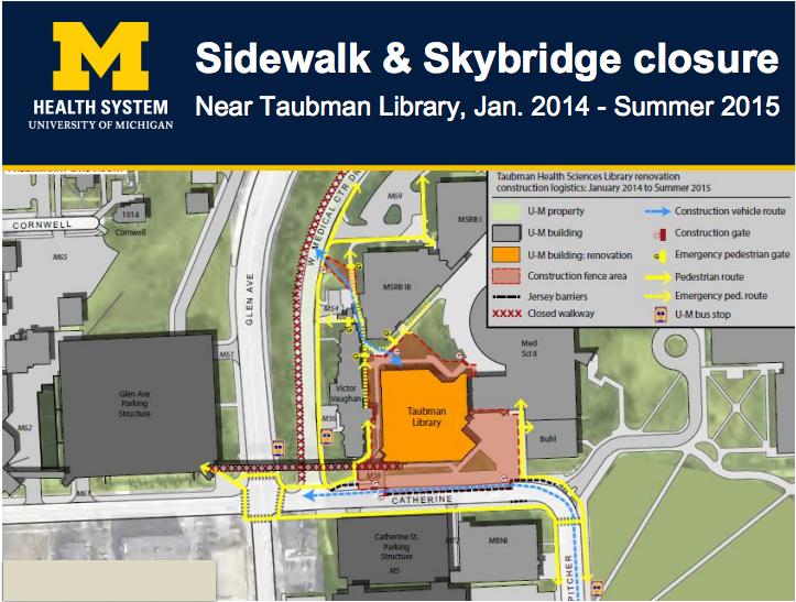 UMHS Sidewalk and Skybridge Closure Map (2014)