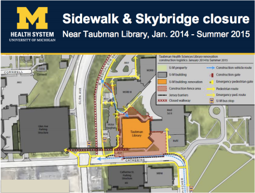 UMHS Sidewalk and Skybridge Closure Map (2014)