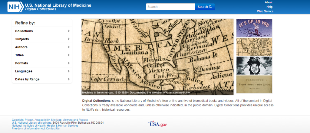 Homepage of the National Library of Medicine Digital Collections repository http://collections.nlm.nih.gov/