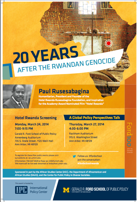 20th Anniversary of the Rwandan Genocide Lecture Flyer