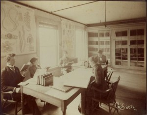 U of M medical students studying in 1893.