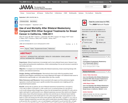 Screenshot of article's abstract.
